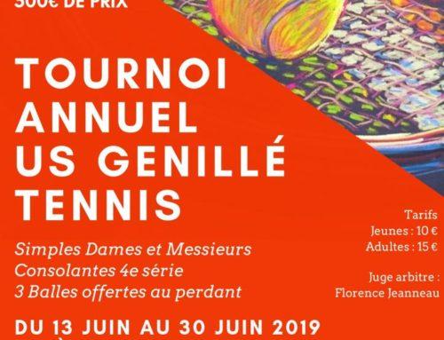 Tournoi Annuel : 13 au 30 juin 2019